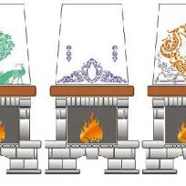 Как украсить камин трафаретной росписью