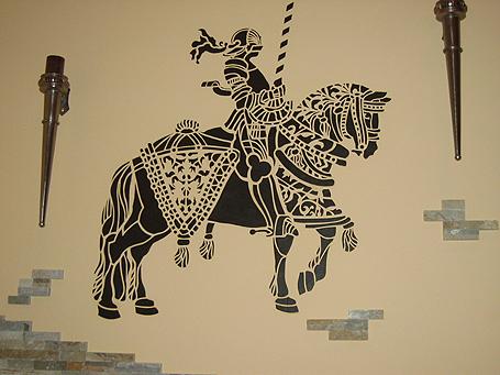 трафарет конный рыцарь
